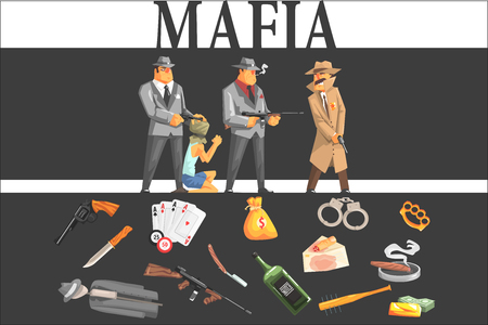 Mafia Taking Hostage And Their Equipment Ilustração