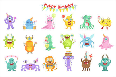 Friendly Monsters With Birthday Party Attributes Cute Childish Stickers. Flat Cartoon Colorful Alien Characters Isolated On White Background.