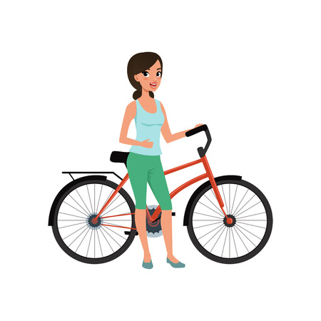 Beautiful woman standing next to her bicycle, active lifestyle concept vector Illustrations on a white background Ilustrace