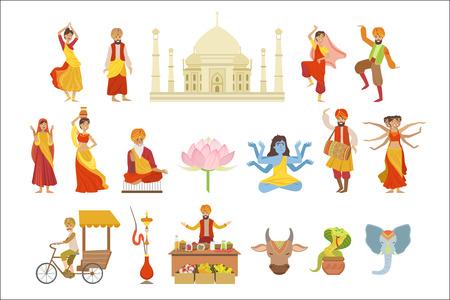 Dansen, heilige koe en andere Indiase culturele symbooltekeningen Stockfoto - 102851057