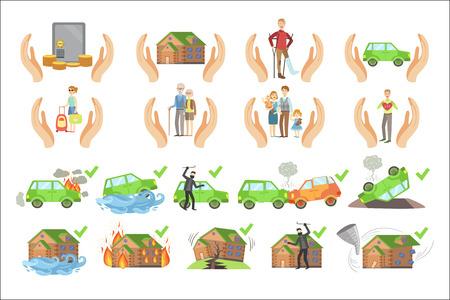 Cartel infográfico de seguros de propiedad, vida y salud.