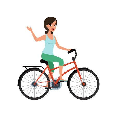 Giovane donna in sella a una bicicletta e agitando la mano, concetto di stile di vita attivo vettoriale illustrazioni su sfondo bianco