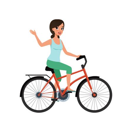 Junge Frau, die ein Fahrrad reitet und ihre Hand, aktiven Lebensstilkonzeptvektorillustrationen auf einem weißen Hintergrund winkt