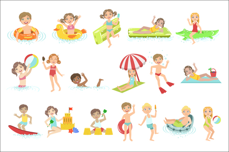 Kids Playing In the Water Set Illustration