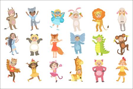 Niños en conjunto de disfraces de animales