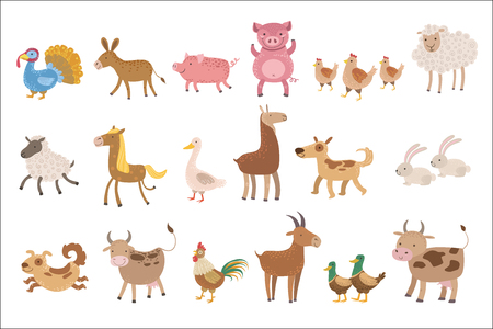 Farm Animals Set Illustration