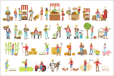 Farmers And Their Products Set Standard-Bild - 102851067