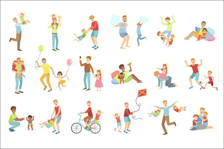 Fathers Playing With Kids Set Of Illustrations