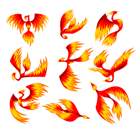 Flaming phoenix bird set, fairy tale character from Slavic folklore vector Illustrations on a white background 写真素材 - 102851078