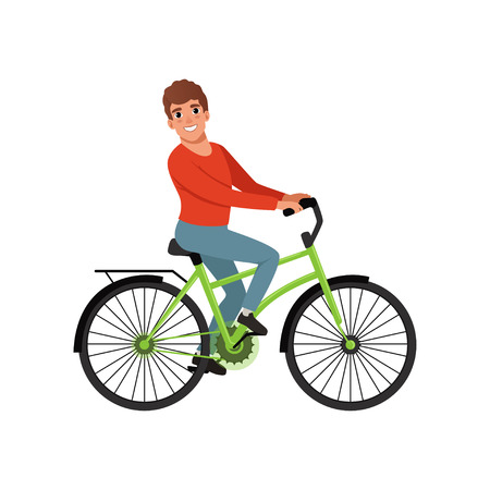 Male bicyclist riding a bike, active lifestyle concept vector Illustrations isolated on a white background.