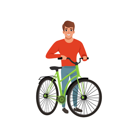 Man standing next to his bike, active lifestyle concept vector Illustrations isolated on a white background. Ilustracja