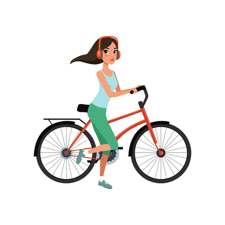 Young woman riding a bike with headphones, active lifestyle concept vector Illustrations isolated on a white background.