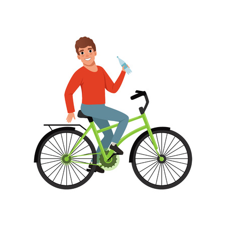 Young man riding bicycle and holding bottle of water, active lifestyle concept vector Illustrations isolated on a white background.