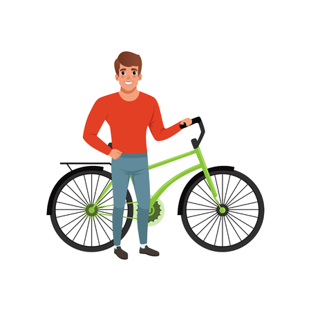 Smiling man standing next to his bicycle, active lifestyle concept vector Illustrations isolated on a white background.