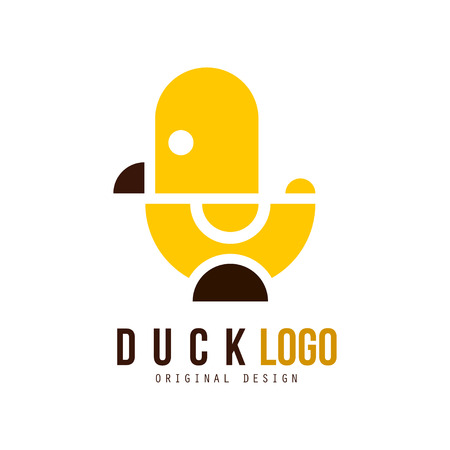 Duck original design, creative badge with yellow toy rubber duck vector Illustration isolated on a white background. Vettoriali