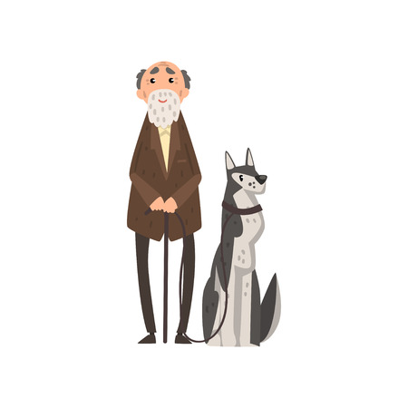 Senior man walking with his pet dog vector Illustration isolated on a white background.