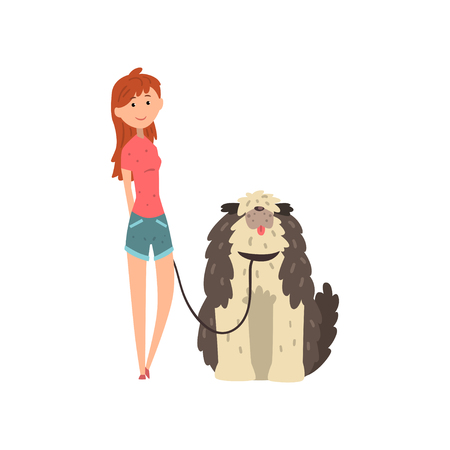 Girl walking her shaggy dog vector Illustration isolated on a white background.