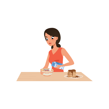 Young woman cooking porridge for breakfast, girl preparing meal in kitchen vector Illustration isolated on a white background.