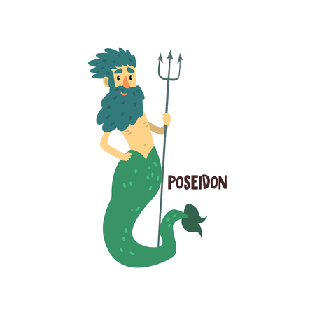 Poseidon Olympian Greek God, ancient Greece mythology character vector Illustration isolated on a white background.