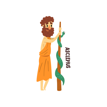 Asclepius Olympian Greek God, ancient Greece mythology character vector Illustration isolated on a white background.
