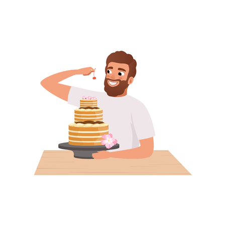 Smiling bearded man making a cake, young man in casual clothing and apron preparing healthy meal in kitchen vector Illustration