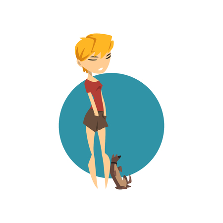 Glamour fashionable girl with her dog vector Illustration isolated on a white background.