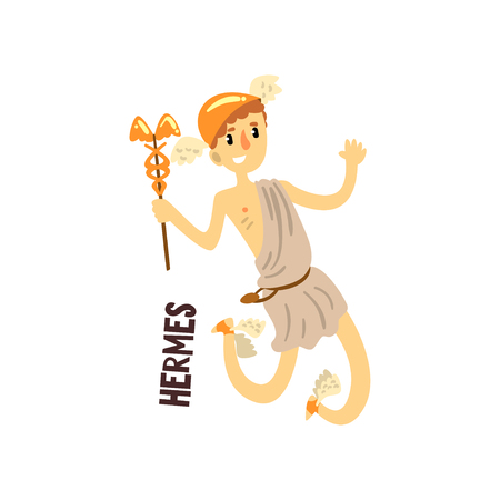 Hermes Olympian Greek God, ancient Greece mythology character vector Illustration on a white background Фото со стока - 102852004