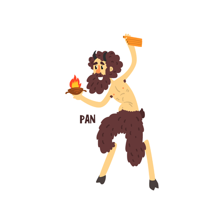 Pan Olympian Greek God, ancient Greece mythology character vector Illustration on a white background