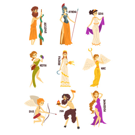 Olympian Greek Gods set, Persephone, Nike, Demetra, Hestia, Gera, Athena, Asclepius ancient Greece mythology characters character vector Illustrations on a white background Vettoriali