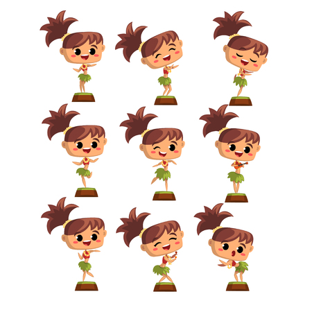 Hawaiian girl dancing hula in traditional costume set vector Illustrations on a white background