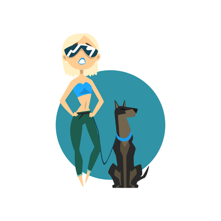 Blonde fashionable girl walking with dog vector Illustration on a white background