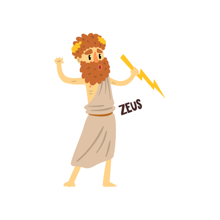 Zeus Olympian Greek God, ancient Greece mythology character character vector Illustration on a white background Çizim