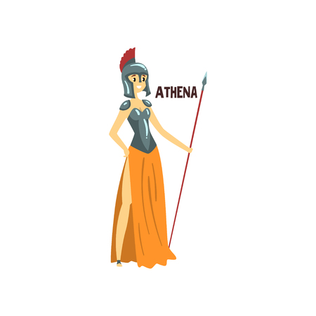 Athena Olympian Greek Goddess, ancient Greece mythology character vector Illustration on a white background