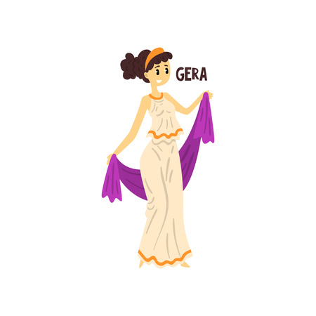Gera Olympian Greek Goddess, ancient Greece mythology character vector Illustration on a white background