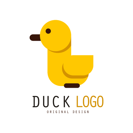 Duck, design element with yellow rubber duck for your own design vector Illustration on a white background Ilustração