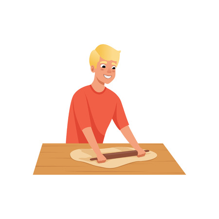 Young man rolling dough, man in casual clothes preparing meal in kitchen vector Illustration on a white background.