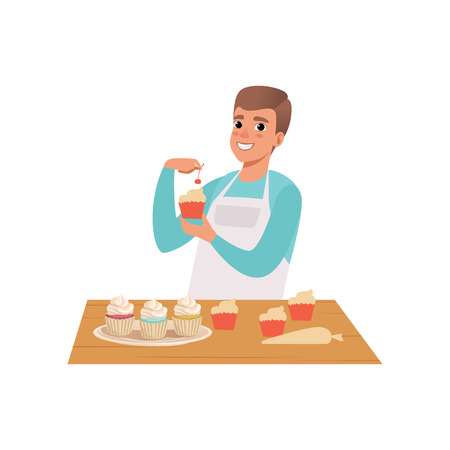 Smiling man cooking cupcakes, young man in casual clothing and apron preparing healthy meal in kitchen vector Illustration isolated on a white background.