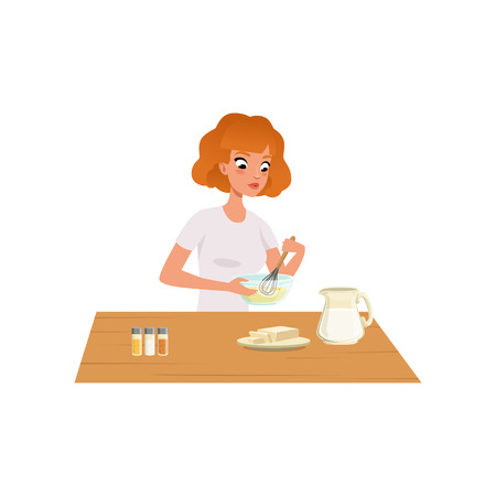 Young woman kneading dough, girl preparing healthy meal in kitchen vector Illustration isolated on a white background.  イラスト・ベクター素材