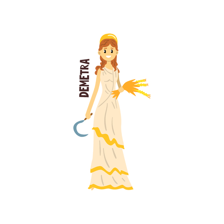 Demetra Olympian Greek Goddess, ancient Greece mythology character vector Illustration isolated on a white background. Çizim
