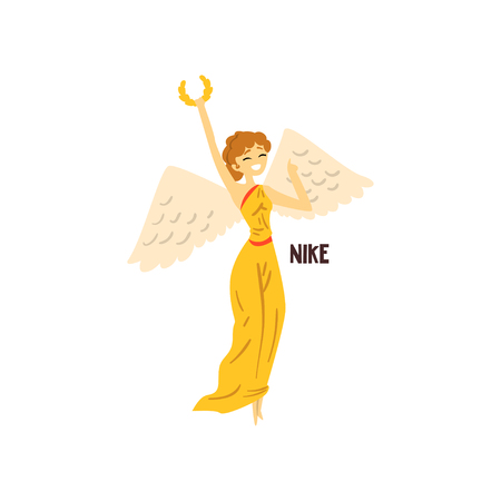 Nike Olympian Greek Goddess, ancient Greece mythology character vector Illustration isolated on a white background.
