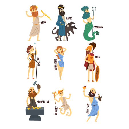 Olympian Greek Gods set, Dionysus, Hermes, Hephaestus,Zeus, Hades, Poseidon, Aphrodite, Artemis ancient Greece mythology characters character vector Illustrations isolated on a white background. Vettoriali