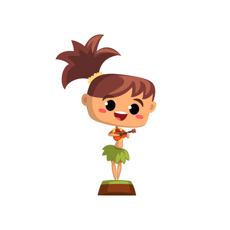 Hawaiian girl in traditional costume playing ukulele vector Illustration on a white background