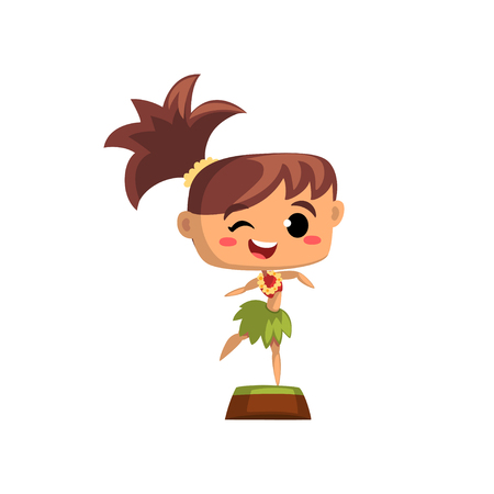 Smiling girl dancing in traditional Hawaiian costume vector Illustration on a white background