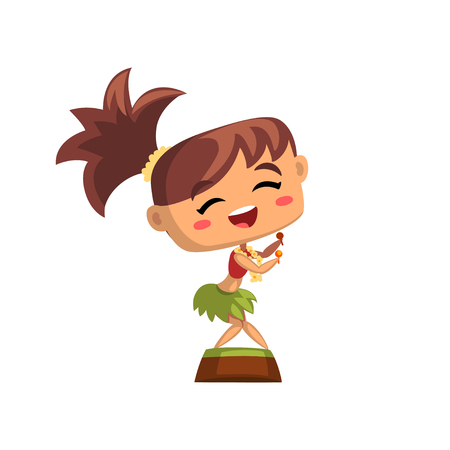 Happy Hawaiian girl dancing hula with maracas in traditional dress vector Illustration on a white background