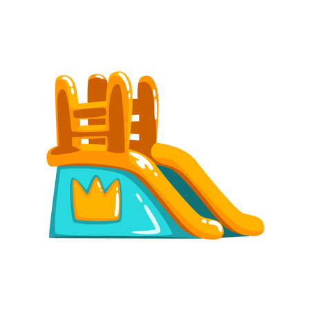 Inflatable slide, side view amusement park bouncy equipment vector Illustrations on a white background