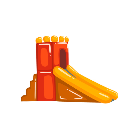 Inflatable slide, summer amusement park bouncy equipment vector Illustrations on a white background Illustration