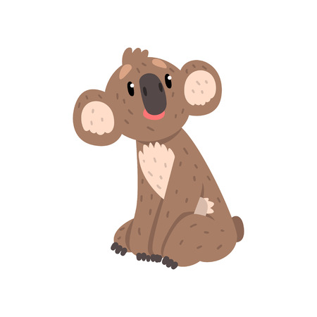 Cute koala bear sitting, Australian marsupial animal character vector Illustrations on a white background