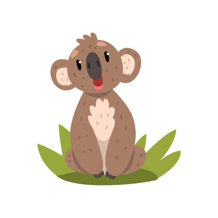 Cute koala bear sitting on the grass, Australian marsupial animal character vector Illustrations on a white background Ilustração