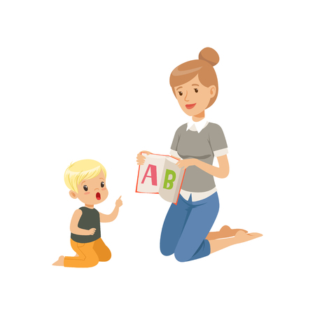 Elementary teacher sitting on the floor and showing letter A to little boy, woman teaching child the alphabet, language class in primary school, preschool education vector Illustration