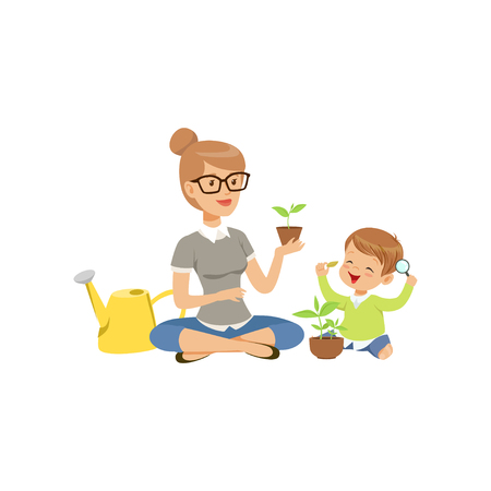 Elementary teacher telling little boy about plants during botany class in primary school, preschool education vector Illustration